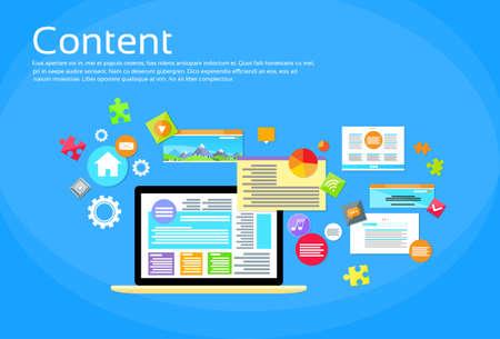web site design: Laptop Digital Content Web Site Page Design Flat Vector Illustration