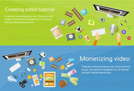 monetizing: Video Editor Desk Workplace Web Banner Set Flat Vector Illustration