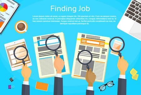 Affaires, mains, recherche, emploi, journal, journal classé, loupe, bureau, plat, vecteur, illustration