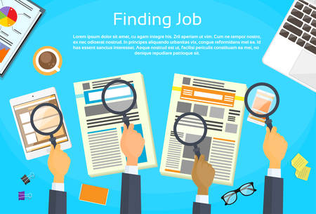 hand job: Business Peope Hands Searching Job Newspaper Classified Magnifying Glass Office Desk Flat Vector Illustration