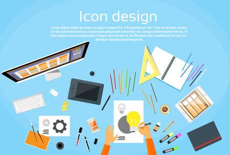 interior designer: Icon Designer Drawing Desk Workspace Flat Vector Illustration