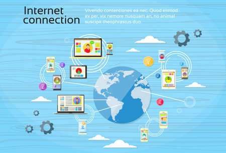clouding: Social Network Connection Concept Internet Device Communication People Vector Illustration