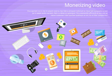 monetize: Video Editor Desk Worplace Web Banner Flat Vector Illustration