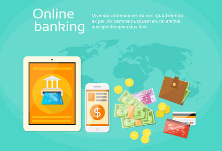 phone money: Online Banking Internet Electronic Payment Tablet Phone Money Credit Card Wallet Flat Vector Illustration Vectores