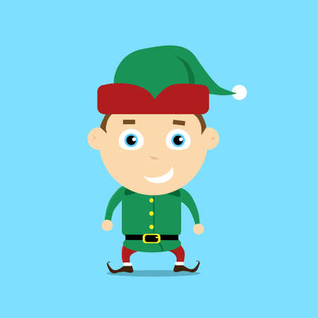 christmas costume: Christmas Elf Cartoon Character Santa Helper Flat Vector Illustration