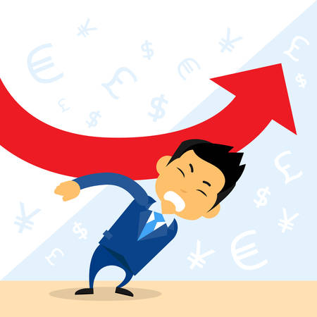 fall down: Businessman Hold Financial Graph Red Arrow Negative Fall Down Flat Vector Illustration Illustration