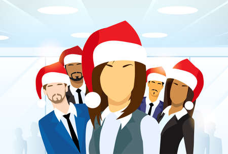 team business: Business Woman Group of People New Year Christmas Hat Corporate Party Holiday Team Flat Vector Illustration