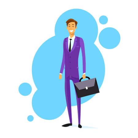 full length: Businessman Smile Hold Briefcase Full Length Flat Vector Illustration