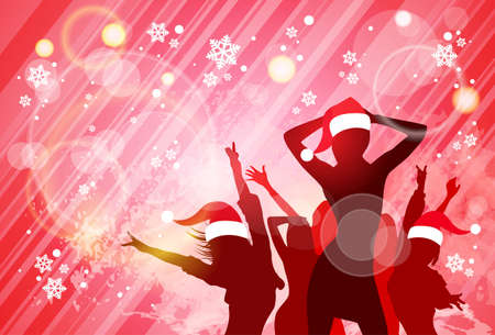 party wear: Christmas New Year Party Dancing Girl Poster, People Silhouettes Wear Red Santa Hat Dance Banner Vector illustration