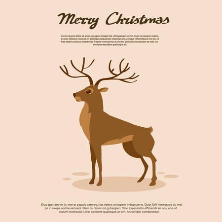 cervidae: Deer Cartoon Animal Brown Reindeer Vector Illustration