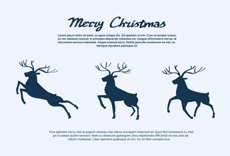 Reindeer Silhouette Christmas New Year Santa Deer Isolated Vector Illustration