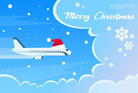 volar: Ilustración de Navidad roja Avión de Santa Hat Cloud Blue Sky Banner plana vectorial Vectores