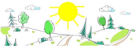 zeichnen: Sommer Landschaft Berg Forest Road Sun Green Grass Naturwald Sketch einfache Linie Kinderhandzeichnung Vektor-Illustration
