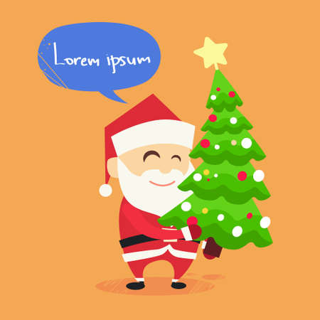 carry on: Santa Claus Carry on Christmas Tree New Year Holiday Flat Vector Illustration Illustration