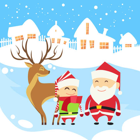 elf cartoon: Santa Clause Christmas Elf Reindeer over Winter Snow House Village Silhouette New Year Card Flat Vector Illustration