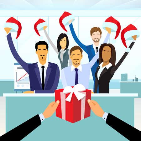 Business People Group Gift Box Nieuwjaar Hoed van Kerstmis Collectieve Present Partij van de vakantie Flat Vector Illustration
