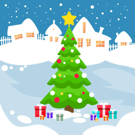 snow house: Christmas Green Pine Tree Snow House New Year Card Flat Vector Illustration