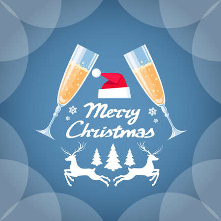 champagne toast: Greeting Invitation Card Two Glasses Champagne Toast Happy New Year Merry Christmas Flat Vector Illustration