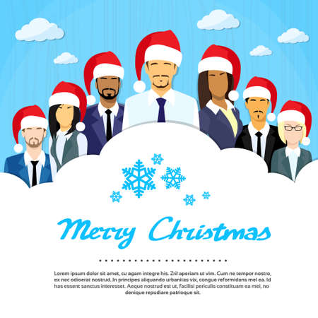 party cartoon: Businessmen Group Cloud Copy Space, Business People New Year Christmas Hat Corporate Party Holiday Flat Vector Illustration