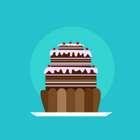 tasty: Cupcake Icon Tasty Cake Flat Vector Illustration