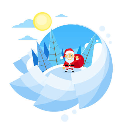 clause: Santa Clause Christmas Cartoon Character Winter Forest Landscape, Pine Snow Trees Woods Snow Green Tree Blue Sky Sun Landscape Circle Banner