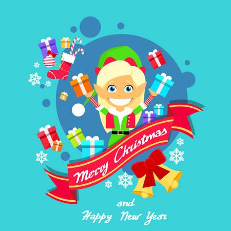 helper: Merry Christmas Elf Female Character Poster Little Girl Santa Helper Greeting Card Hold Gift Box Flat Illustration