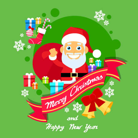 helper: Merry Christmas Elf Female Character Poster Little Girl Santa Helper Greeting Card Hold Gift Box Flat Vector Illustration