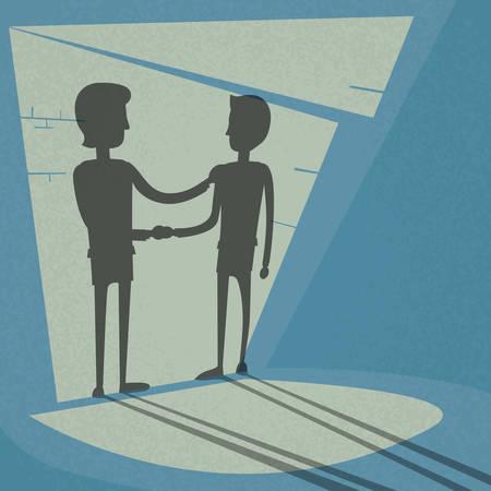 saludo de manos: Ilustración del apretón de manos Manos Negocios Shake Negro Trato Concepto Empresario silueta Oficina Dark Room Luz De Puertas Pasillo Pasillo Piso vectorial
