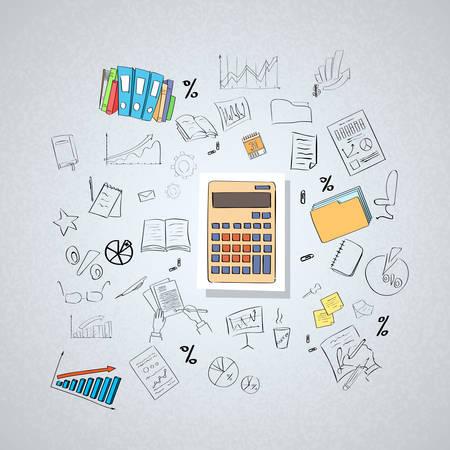電卓会計士ビジネス落書き手描きスケッチ概念ベクトル図