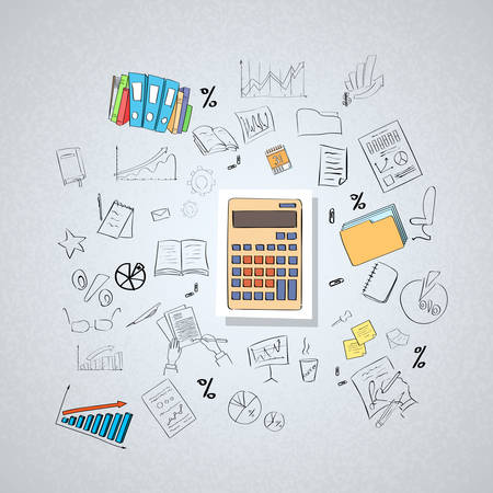 contabilidad financiera cuentas: Calculadora Contador de negocios del Doodle Mano Dibuja Ilustración vectorial Sketch Concepto