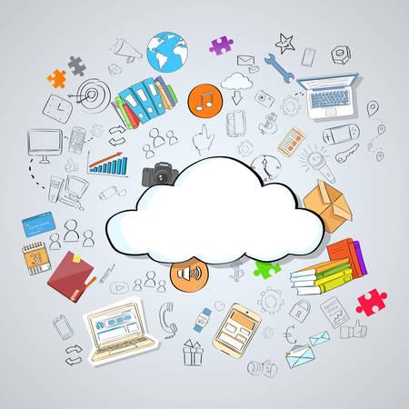 storage device: Cloud Computing Technology Device Set Internet Data Information Storage Doodle Hand Draw Sketch Concept Vector Illustration Illustration