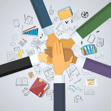 collaboration team: Hands Desk Team Leader Business People Pile Hand Stack On Each Other, Businesspeople Colleagues Success Collaboration Leader Doodle Hand Draw Sketch Concept Vector Illustration
