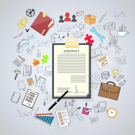 legal document: Contrato Suscríbete Papel Documento Pen Escritorio Oficina Firma Doodle Mano Dibuja Ilustración vectorial Sketch Concepto Vectores