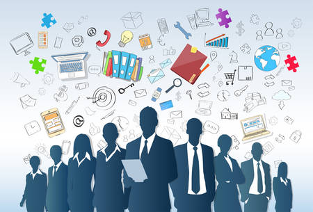 business graphics: Business People Group Silhouette Doodle Hand Draw Sketch Background Concept Businesspeople Team Vector Illustration Illustration