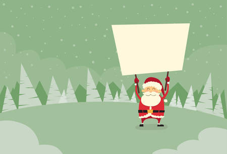 snow forest: Santa Claus Banner, White Sign Board Blank Empty Copy Space Winter Snow Forest Christmas Holiday Flat Vector Illustration