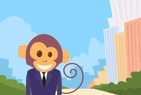 monkey suit: Monkey Cartoon Businessman Suit Profile Icon Portrait Business Man Flat Vector Illustration Illustration