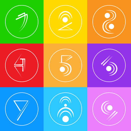 simple logo: Abstract Logo Icons Set Thin Line Simple Colorful Collection Minimalistic Style Web Logotypes Illustration