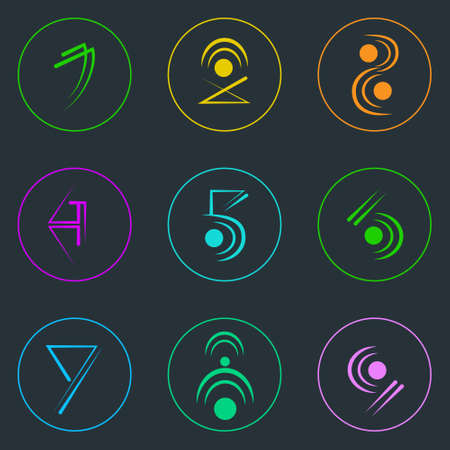 logotypes: Abstract Logo Icons Set Thin Line Simple Colorful Collection Minimalistic Style Web Logotypes Illustration