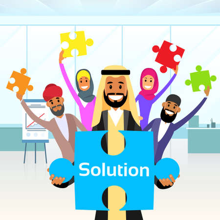 team group: Business People Arab Group Hold Jigsaw Puzzle Piece Concept of Solution Arabic Team Vector Illustration