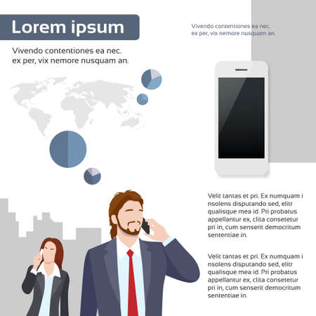 business phone: Businesspeople Chat Smart Phone Talk Infographics Communication Web Page Layout Template Flat Vector Illustration