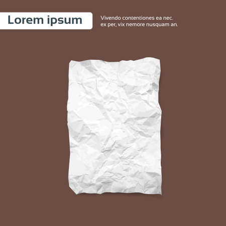 space rubbish: Blank Crumpled Paper Sheet, Empty Page Texture Brown Background Vector Illustration