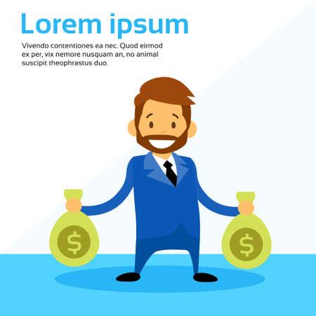 money sack: Cartoon Businessman Hold Money Sack Flat Vector Illustration