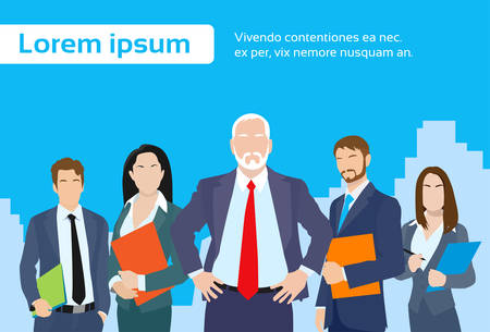 woman boss: Senior Businessmen Boss with Group of Business People Team Flat Vector Illustration