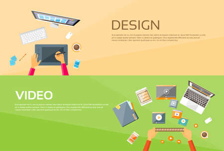 retouch: Video Editor Workplace Hands Laptop Player Web Banner Set Flat Vector Illustration