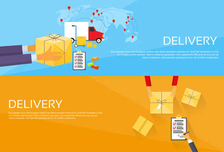 mail: Delivery Service Package Box Receiving Courier Hands Customer Web Banner Set Flat Vector Illustration