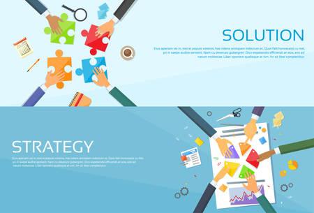 Business People Hands Making Puzzle Desk, Team Work Pie Diagram, Businessmen Finance Document Web Banner Set Flat Vector Illustration
