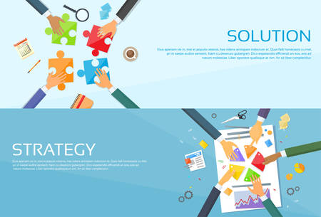 business solution: Business People Hands Making Puzzle Desk, Team Work Pie Diagram, Businessmen Finance Document Web Banner Set Flat Vector Illustration