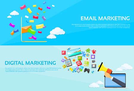 email: Digital Marketing Email Laptop Envelope Send Business Mail Megaphone Device Entertainment Loudspeaker Web Banner Set Flat Vector Illustration