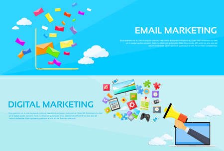 redes de mercadeo: Marketing Digital Sobre Email Laptop Enviar Business Mail Megáfono Dispositivo Ilustración Entretenimiento Altavoz bandera del Web Conjunto plana vectorial