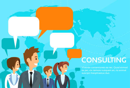 discussing: Business People Consulting Group Talking Discussing Chat Communication Social Network Flat Vector Illustration Illustration